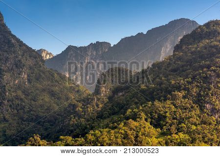 Nature View Of Doi Luang Chiang Dao Mountain With Blue Sky,the Famous Mountain For Tourist To Visit