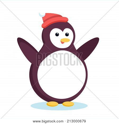 Christmas Arctic Penguin Waving Wings And Smiling. Cute Cartoon Xmas Pinguin In Red Beanie Hat Stand