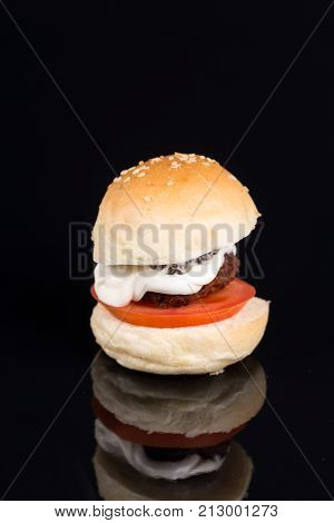 Meatball In A Bun With Tomato And Mayonnaise