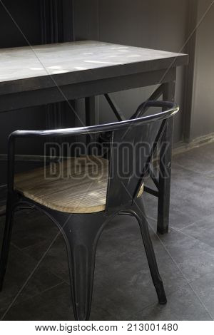 Village cafe with metal table and chair stock photo