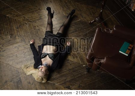 Crime Scene (imitation). Strangled Business Woman In The Classical Library