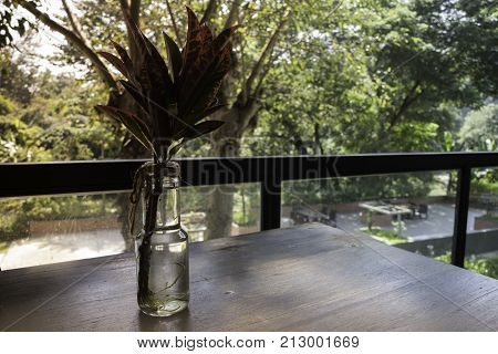 Nature view of hotel restaurant table stock photo