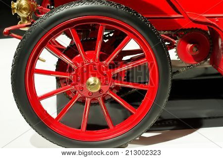Wheel with tire of vintage car close up