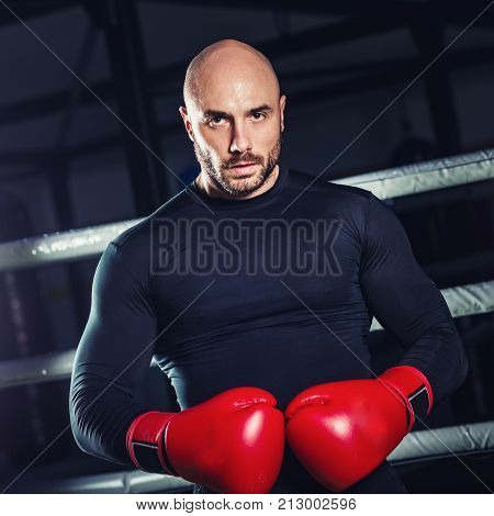 Man Boxing On Training In The Gym, Toned Image, One  Man Only