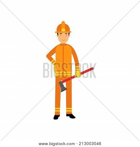 Fireman in uniform and protective helmet, standing with axe. Fearless firefighter officer in protecting equipment at work. Rescue worker character. City hero. Vector illustration isolated on white.