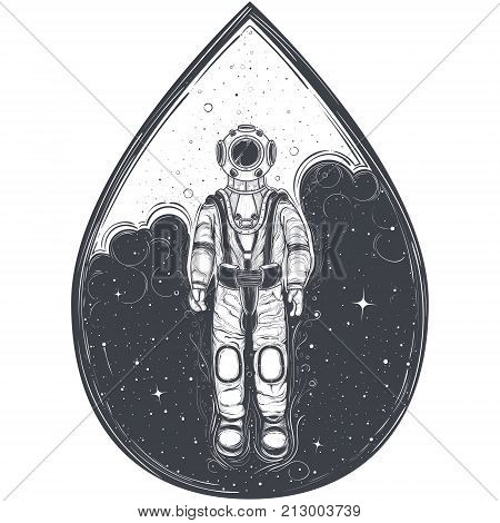 Vector abstract astronaut, cosmonaut in space suit against the background of cosmic space with stars, enclosed in form of drop, engraving style, isolated on white background. Print, template