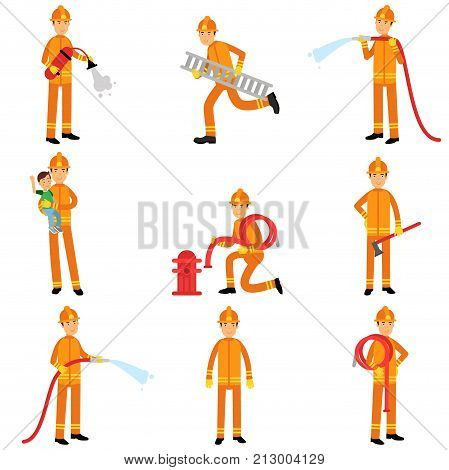Fireman in uniform and protective helmet doing their job set. Firefighter officer in protecting equipment at work. Extinguishing fire, helping people. Rescue worker male character. Vector on white.