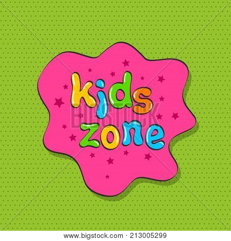 Colorful bubble letters for children's playroom decoration. Inscription on green background. Kids zone banner design. Children playground. Vector illustration of a logo with text game zone for children in colorful style