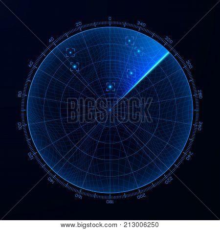 Blip. HUD interface element radar. Target detection on the radar screen. Vector illustration