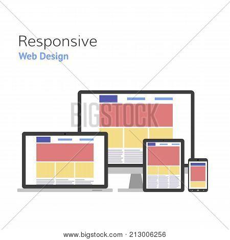 Responsive design. Web development. computer screen smartphone tablet laptop set. Vector illustration