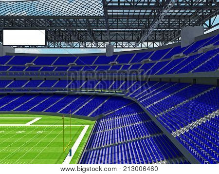 Modern American Football Stadium With Blue Seats