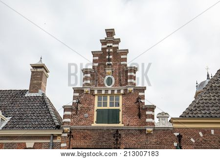 Typical house gable in Alkmaar North Holland Netherlands