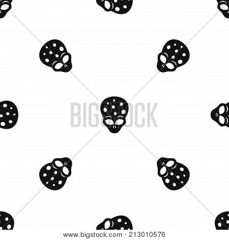 Extraterrestrial alien head pattern repeat seamless in black color for any design. Vector geometric illustration