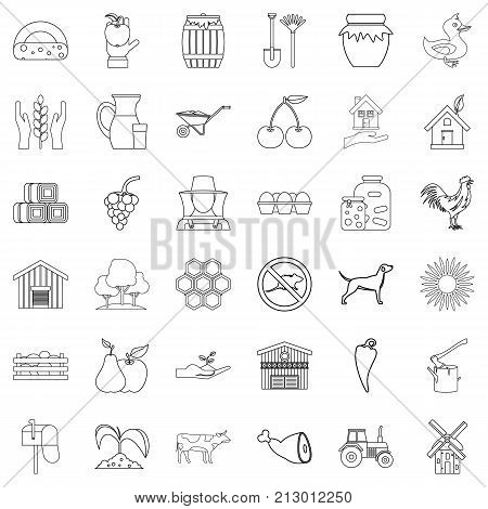 Household icons set. Outline style of 36 household vector icons for web isolated on white background