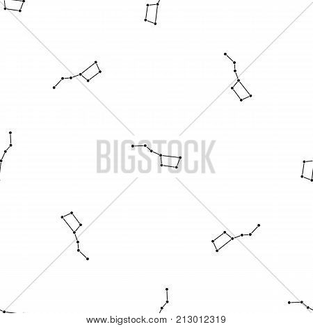 The Great Bear constellation pattern repeat seamless in black color for any design. Vector geometric illustration