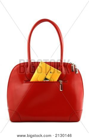 Red Handbag With Wallet