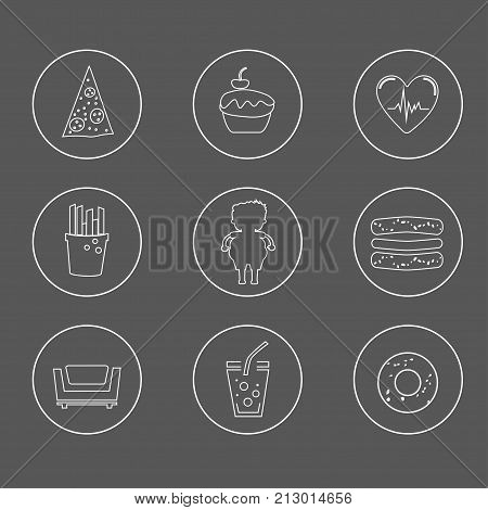 Obesity icons set. Concept of obesity related disease.