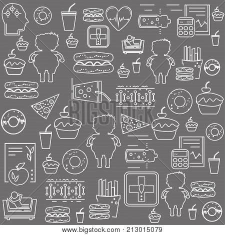 Simple seamless obesity background pattern. Concept of obesity related disease. Website background.