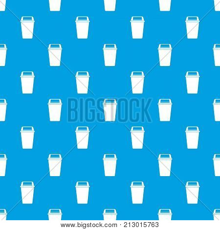 Plastic flip lid bin pattern repeat seamless in blue color for any design. Vector geometric illustration