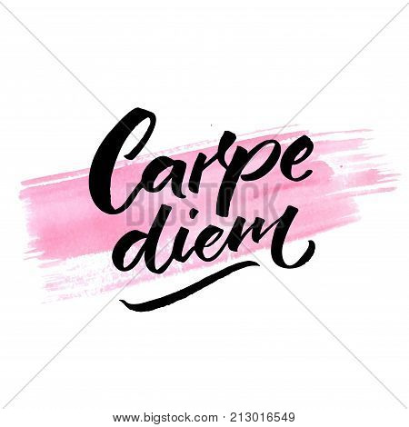 Carpe diem - latin phrase means seize the day, enjoy the moment. Inspiration quote brush calligraphy handwritten on pink watercolor stroke