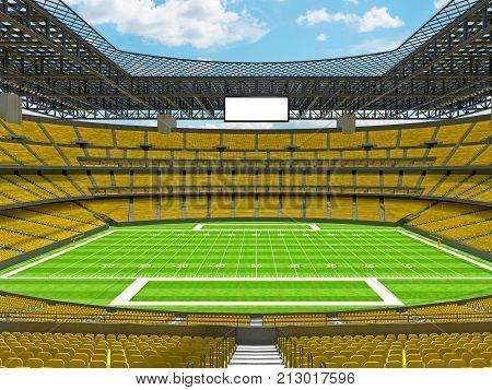 Modern American Football Stadium With Yellow Seats