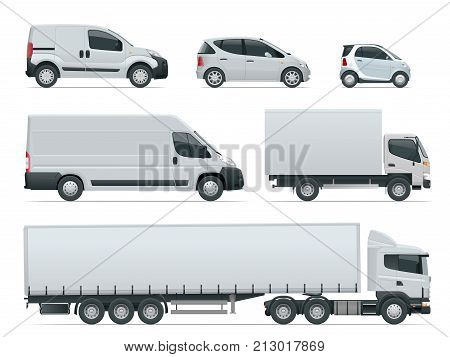 Set of cargo trucks side view. Delivery Vehicles isolated. Cargo Truck and Van. Vector illustration