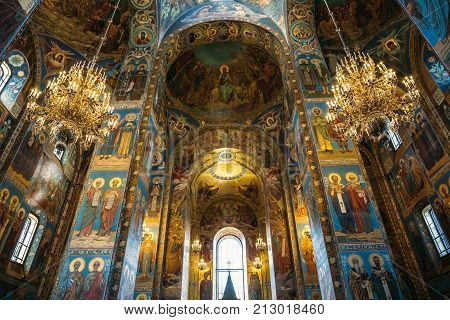 Saint Petersburg, Russia - Circa June 2017: Interior of the Church of the Saviour on Spilled Blood in St. Petersburg, Russia - famous Russian orthodox church