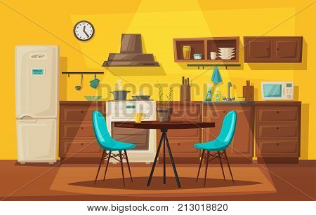 Kitchen interior. Cartoon vector illustration. Table, stove, cupboard, cooker and fridge. Home indoor, kitchen appliances furniture. Cooking banner. For web and print