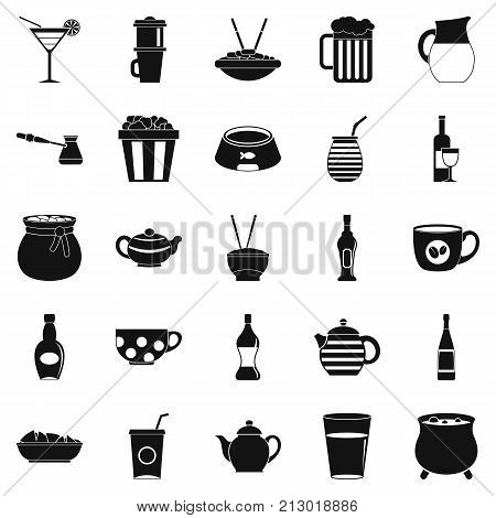 Tableware icons set. Simple set of 25 tableware vector icons for web isolated on white background
