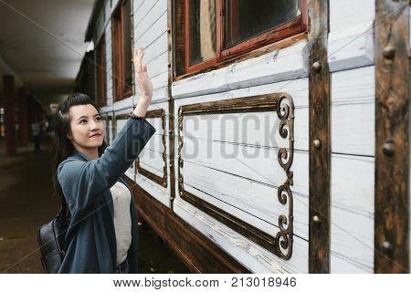 Woman saying goodbye to somebody on train