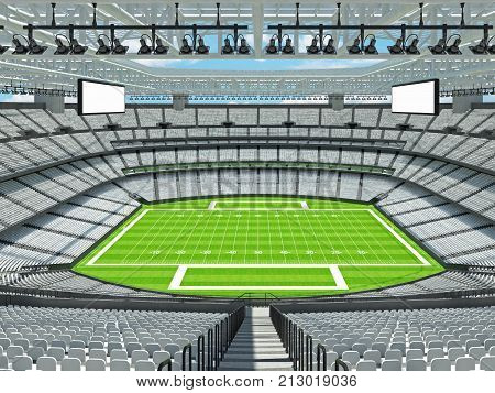 Modern American Football Stadium With White Seats