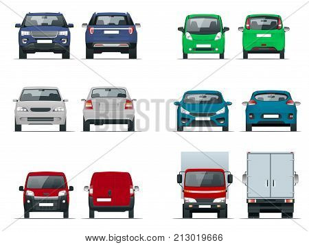 Vector set cars front and rear view. Sedan, off-road, compact, cargo truck, blank delivery minivan vehicles. Template vector isolated on white