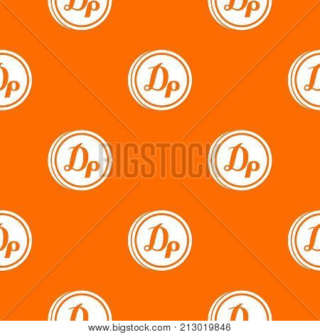 Coin drachma pattern repeat seamless in orange color for any design. Vector geometric illustration