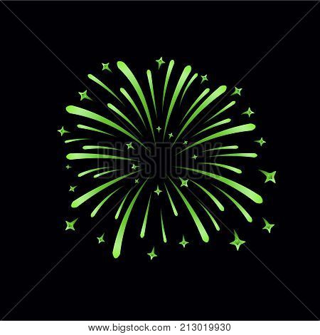 Beautiful Bright Firework Isolated On Black Background