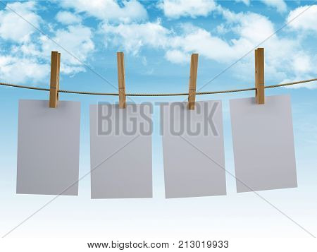 Sheets Hanging On A Clothesline With Sky Background