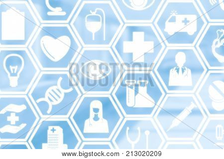Medical background - Healthcare logos doctor icons and medical symbols on blue background displaying healthcare person medical treatment emergency service health research and medical insurance.