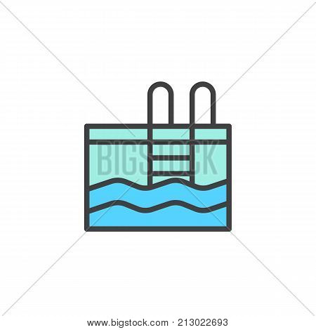 Swimming pool filled outline icon, line vector sign, linear colorful pictogram isolated on white. Symbol, logo illustration. Pixel perfect vector graphics