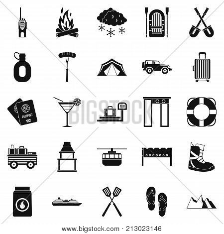 Departure from the country icons set. Simple set of 25 departure from the country vector icons for web isolated on white background
