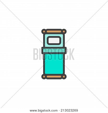 Single bed filled outline icon, line vector sign, linear colorful pictogram isolated on white. Symbol, logo illustration. Pixel perfect vector graphics