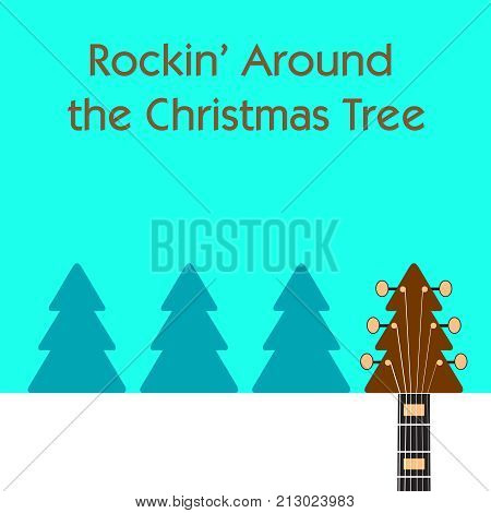 Rockin' around the Christmas tree guitar background for Print or Web