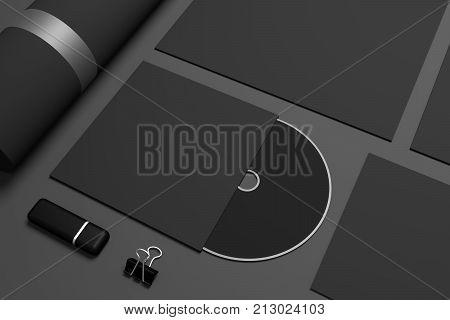 Close up of CD disk mockup. 3D illustration stationery mock-up.