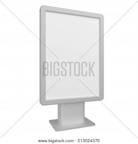 Blank 3D illustration light box citylight mockup isolated on white background.