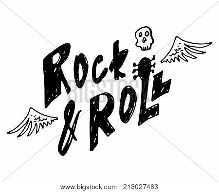 Rock and roll. Hand drawn lettering with scull and wings. Vintage vector illustration
