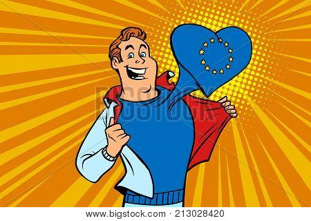 happy man fan, the European Union heart. Comic cartoon style pop art illustration vector retro