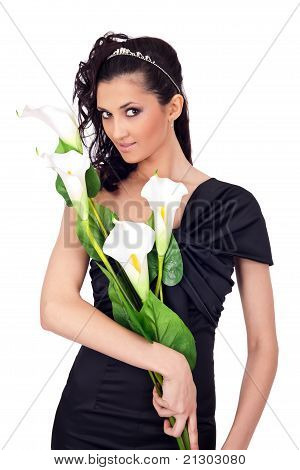 Beautiful Lady With Flowers