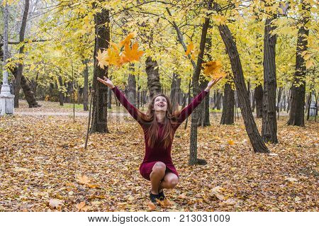 The Woman Crouched In The Park In The Fall And Throws Up Yellow Leaves.