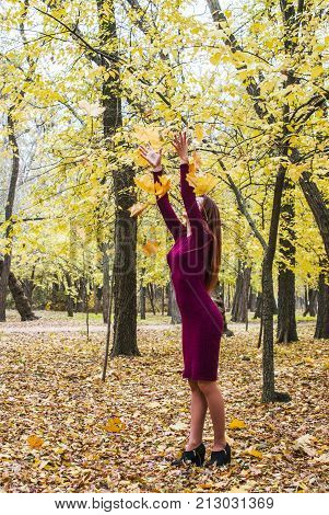 A Woman Throws A Leaf In The Park In Autumn.
