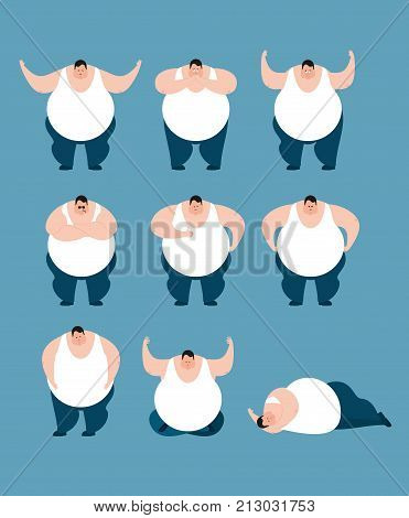 Fat Set Poses And Motion. Stout Guy Happy And Yoga. Big Man Sleeping And Angry. Guilty And Sad. Vect