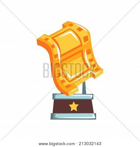 Original golden film reward in form of video tape for best actor. Academy award for best cinematography. Movie industry. Grand prize for winner. Cartoon flat vector illustration isolated on white.