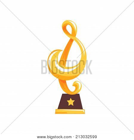 Golden statue of treble clef on brown base. Music award trophy in cartoon flat design. Musical note. Victory reward. Grand prize for winner. Vector illustration in flat design isolated on white.